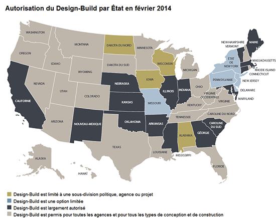 Carte de l'état de situation des autorisations du Design Build par État en février 2014.