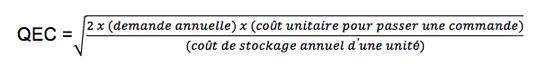 Calcul pour la gestion des stocks et réapprovisionnement