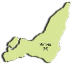 Carte de la région de Montréal et de ses MRC