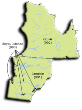 Carte de la région du Nord-du-Québec et de ses MRC