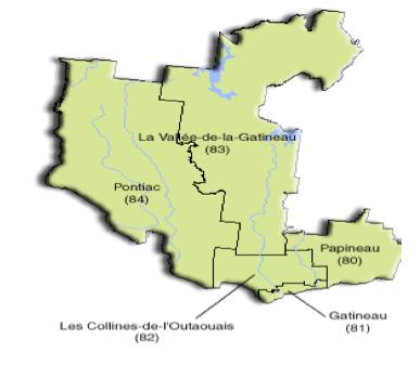 Carte de la région de l'Outaouais et de ses MRC